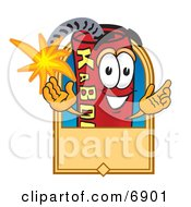 Clipart Picture Of A Red Dynamite Mascot Cartoon Character With A Tan Label