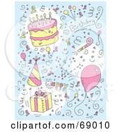 Royalty Free RF Clipart Illustration Of A Doodled Birthday Background