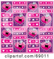 Royalty Free RF Clipart Illustration Of A Pink And Purple Happy Heart Background by Cory Thoman