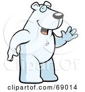Royalty Free RF Clipart Illustration Of A Waving White Polar Bear Character by Cory Thoman