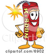Clipart Picture Of A Red Dynamite Mascot Cartoon Character Pointing At The Viewer