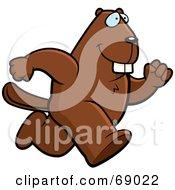 Bucky Beaver Character Running