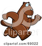 Royalty Free RF Clipart Illustration Of A Bucky Beaver Character Running by Cory Thoman