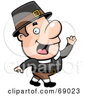 Royalty Free RF Clipart Illustration Of A Walking Pilgrim Man by Cory Thoman