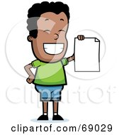 Royalty Free RF Clipart Illustration Of A Proud Black Teen Boy Holding A Report Card by Cory Thoman