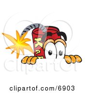 Clipart Picture Of A Red Dynamite Mascot Cartoon Character Scared Peeking Over A Surface