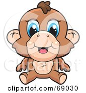 Royalty Free RF Clipart Illustration Of A Cute Baby Monkey With Blue Eyes