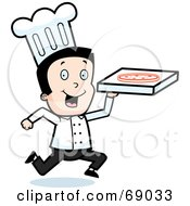 Royalty Free RF Clipart Illustration Of A Running Pizza Delivery Boy Chef by Cory Thoman