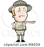 Royalty Free RF Clipart Illustration Of A Mad Safari Boy Pointing by Cory Thoman