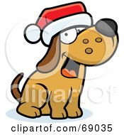 Royalty Free RF Clipart Illustration Of A Max Dog Character Wearing A Santa Hat by Cory Thoman