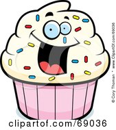 Royalty Free RF Clipart Illustration Of An Excited Cupcake Character by Cory Thoman