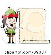 Royalty Free RF Clipart Illustration Of A Female Christmas Elf Presenting A Blank List by Cory Thoman