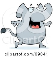 Happy Smiling And Walking Gray Elephant by Cory Thoman