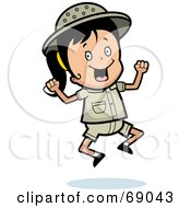 Royalty Free RF Clipart Illustration Of A Happy Safari Girl Jumping by Cory Thoman