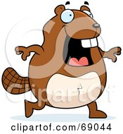 Royalty Free RF Clipart Illustration Of A Bucky Beaver Character Smiling And Walking by Cory Thoman