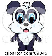 Royalty Free RF Clipart Illustration Of A Standing Cute Baby Panda by Cory Thoman