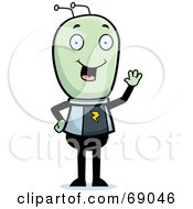 Royalty Free RF Clipart Illustration Of A Waving Green Extraterrestrial Being by Cory Thoman