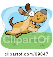 Royalty Free RF Clipart Illustration Of A Max Dog Character Running In Grass by Cory Thoman