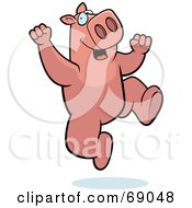 Royalty Free RF Clipart Illustration Of A Pink Pig Character Jumping