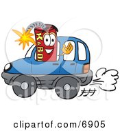 Clipart Picture Of A Red Dynamite Mascot Cartoon Character Driving A Blue Car