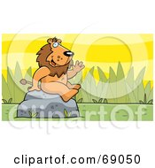 Royalty Free RF Clipart Illustration Of A Friendly Waving Lion Character On A Rock by Cory Thoman
