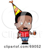 Royalty Free RF Clipart Illustration Of A Black Birthday Boy Holding Punch