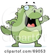 Royalty Free RF Clipart Illustration Of A Friendly Green Lizard Waving by Cory Thoman