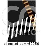 Royalty Free RF Clipart Illustration Of A Black Background With White And Orange Hazard Stripes