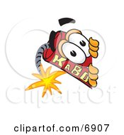 Clipart Picture Of A Red Dynamite Mascot Cartoon Character Peeking Around A Corner