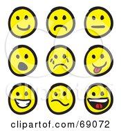 Royalty Free RF Clipart Illustration Of A Digital Collage Of White And Black Various Smiley Faces