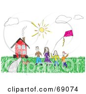 Child Like Drawing Of A Family And Their Pet With A Kite Outside Their Red House