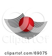 3d Red Sphere On A Curved Dot Surface