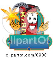 Clipart Picture Of A Red Dynamite Mascot Cartoon Character With A Blank Label