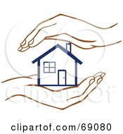 Royalty Free RF Clipart Illustration Of A Pair Of Human Hands Protecting A Blue Home by Cherie Reve