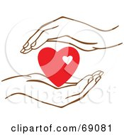 Royalty Free RF Clipart Illustration Of A Pair Of Human Hands Protecting A Red Heart by Cherie Reve #COLLC69081-0099
