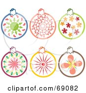 Royalty Free RF Clipart Illustration Of A Digital Collage Of Six Decorative Christmas Ornaments by Cherie Reve