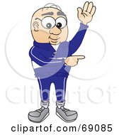Senior Man Character Waving And Pointing