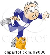 Royalty Free RF Clipart Illustration Of A Senior Man Character Tripping Over A Cat by Toons4Biz