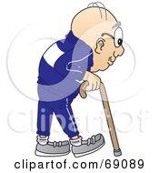 Senior Man Character Using A Cane