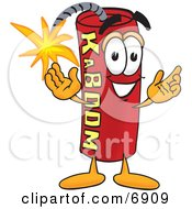 Clipart Picture Of A Red Dynamite Mascot Cartoon Character