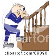 Senior Man Character Climbing Stairs