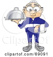 Royalty Free RF Clipart Illustration Of A Senior Man Character Serving A Platter