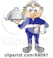 Senior Man Character Serving A Platter