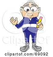 Senior Man Character Holding A Pencil