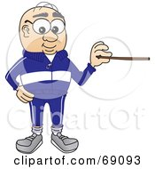 Senior Man Character Holding A Pointer