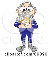Royalty Free RF Clipart Illustration Of A Senior Man Character Holding Pill Bottles by Toons4Biz