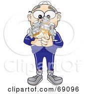 Senior Man Character Holding Pill Bottles