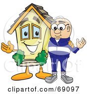 Royalty Free RF Clipart Illustration Of A Senior Man Character With A House by Toons4Biz