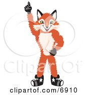 Clipart Picture Of A Fox Mascot Cartoon Character Pointing Upwards by Toons4Biz