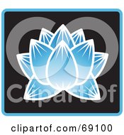 Royalty Free RF Clipart Illustration Of A Beautiful Blue Lotus Flower On Black With Blue Trim by Rosie Piter